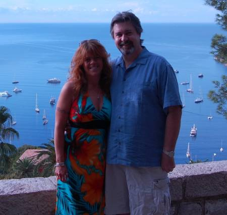 Mary and Mike overlooking the St. Jean-Cap-Ferrat Harbor