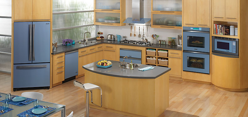 Dacor preference blue glass kitchen warners 39 stellian for Slate blue kitchen decor