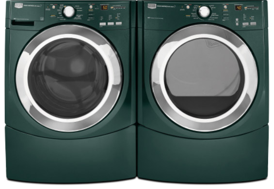 Laundry pairs come in more colors than your clothes these days. This Maytag Performance Series laundry pair comes in Evergreen. Below: Frigidaire Affinity in blue, GE in silver-metallic, GE high-efficiency top-loader in champagne and Electrolux in teal.