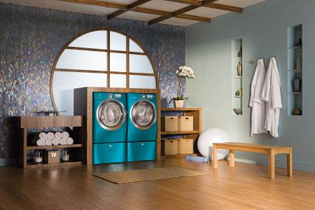 Luckily, for times when I can't wait a 1 1/2 hours for a clean outfit (sports uniforms, anyone?), I have the 18-minute wash, 18-minute dry feature from Electrolux (though my laundry room looks nothing like this). In a word: lifesaver.