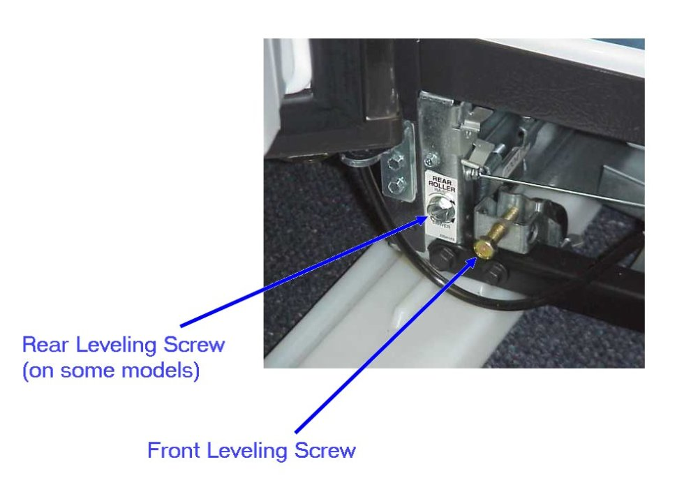 To raise the front of the cabinet, use the front roller leveling screws. To lower the back of the cabinet, use the rear roller leveling screws, if available, on your model.