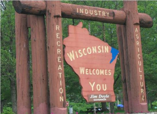 """Wisconsin Welcomes You""...to get our state stimulus money!"
