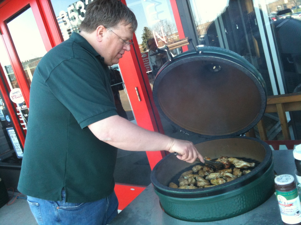 Stu grilling on his Big Green Egg at our last BBQ Grill Expo.