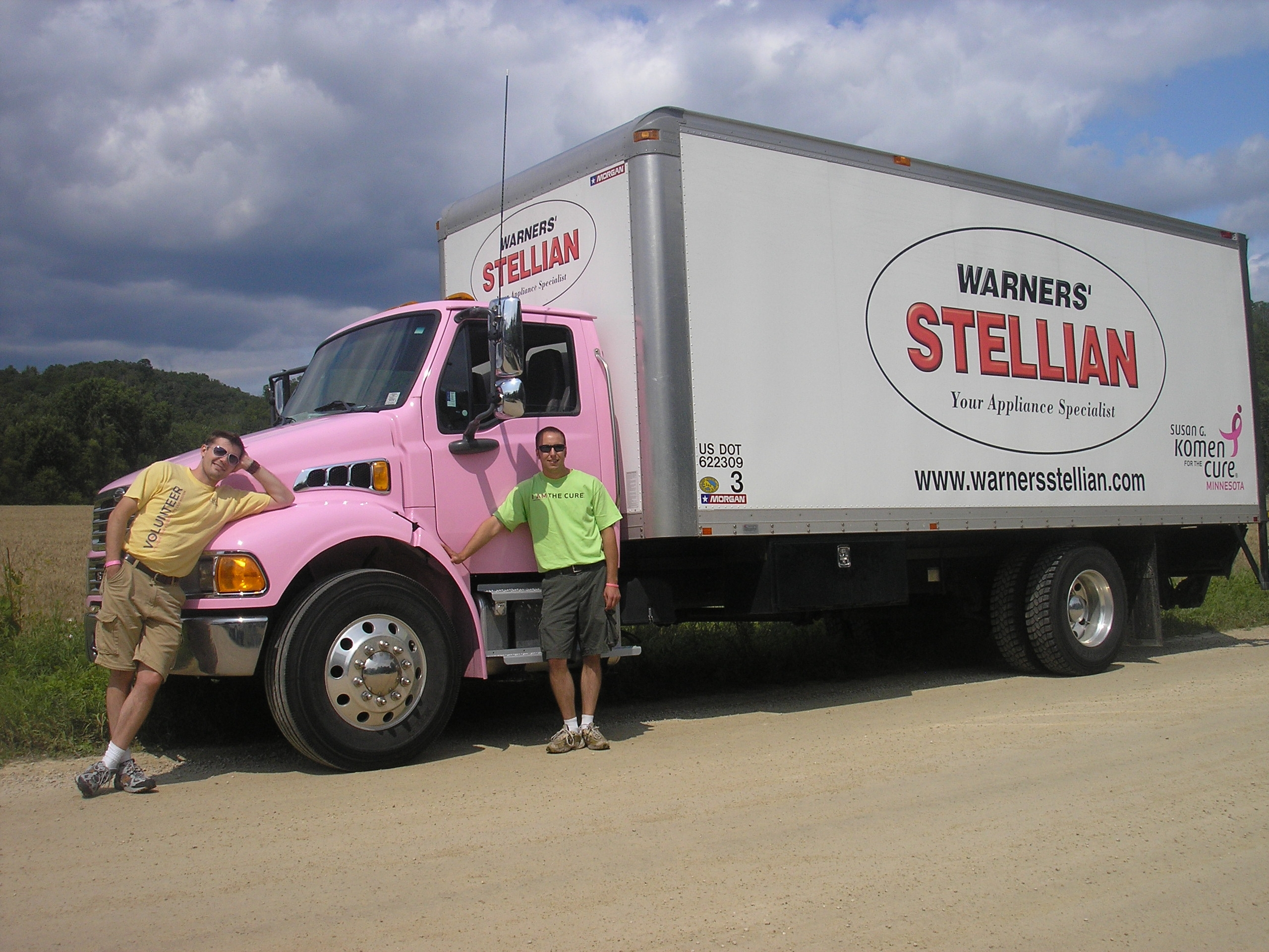 See our pink trucks at the breast cancer ride warner for Warners stellian