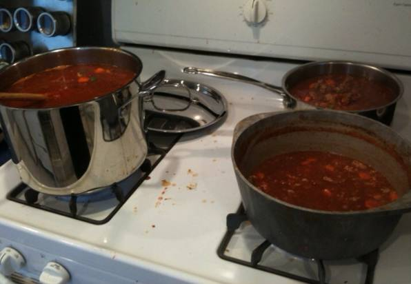 """Two-thirds of the chili produced, getting ready to """"simmer"""""""