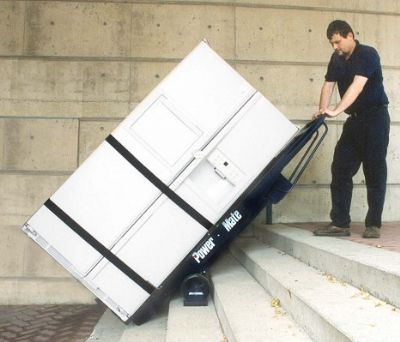Refrigerator moving advice warner stellian appliance for Motorized stair climbing dolly rental