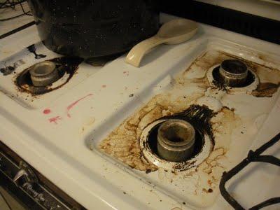 messy stove