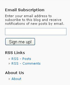 Type your e-mail address into this box, found along the right-hand side of the blog's homepage.