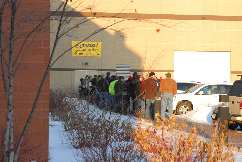 Here are some Extreme Warehouse Sale pros, lined up before the doors open.
