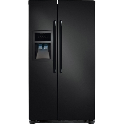 side by side black refrigerator
