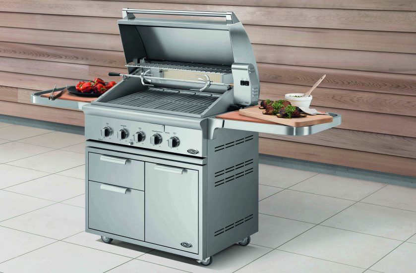 fisher paykel grill with food on side shelves
